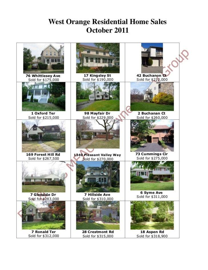 West Orange NJ Real Estate Sales: October 2011