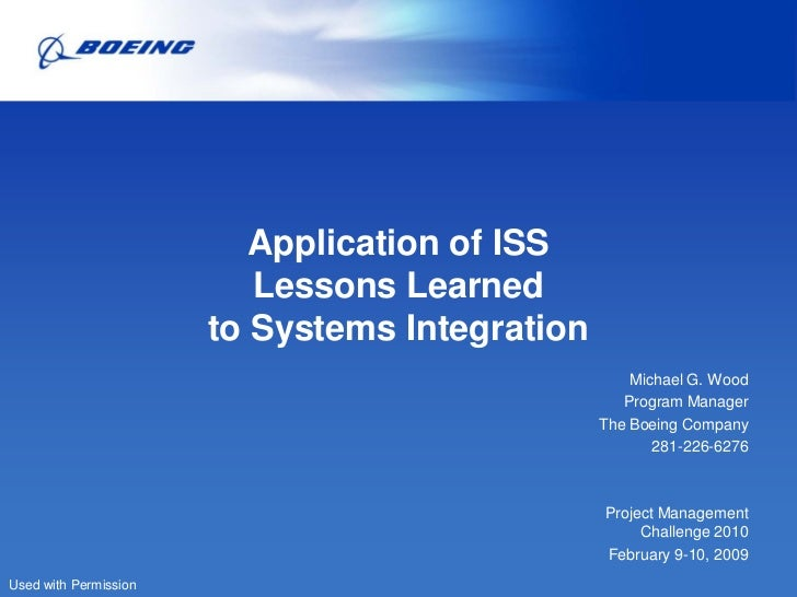 Application of ISS                          Lessons Learned                       to Systems Integration                  ...