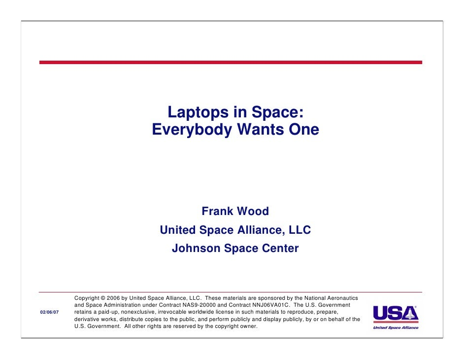 Laptops in Space:                                          Everybody Wants One                                            ...