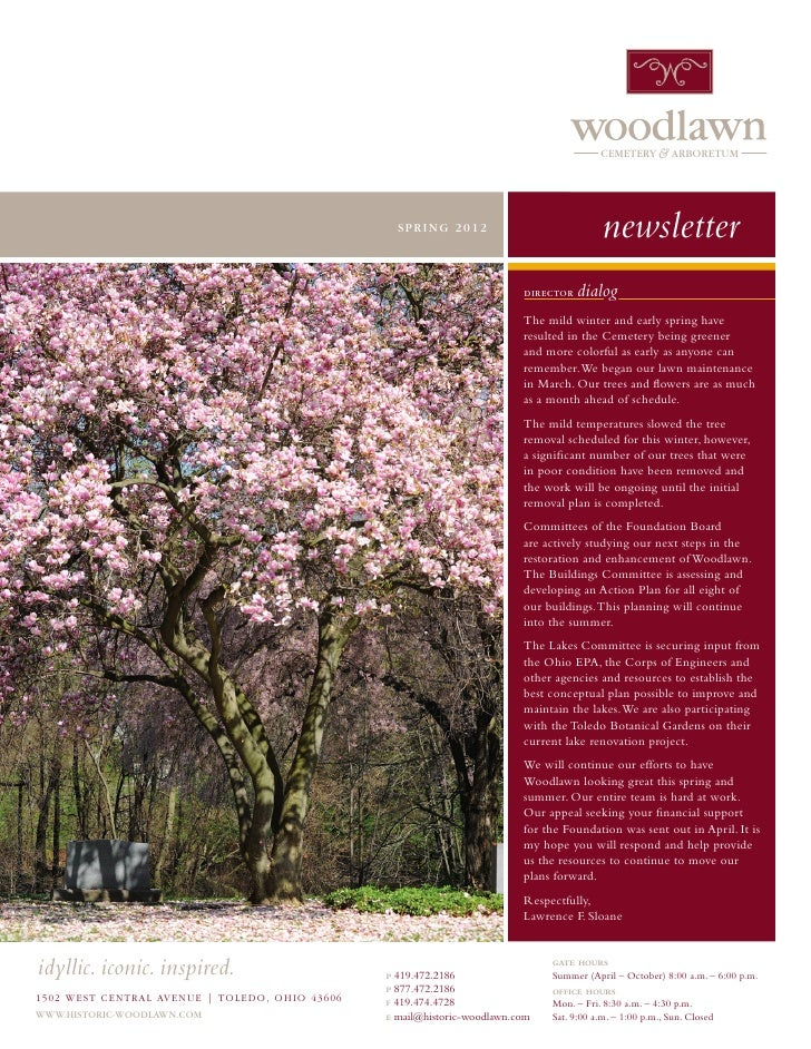 Woodlawn Spring 2012 newsletter
