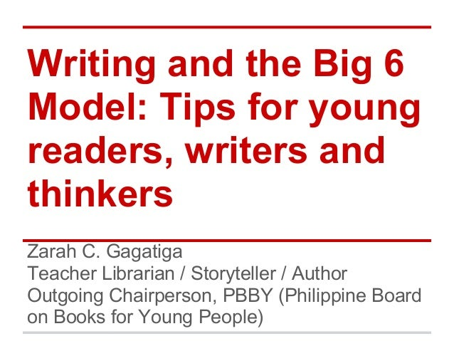 Writing and the Big 6 Model: Tips for young readers, writers and thinkers Zarah C. Gagatiga Teacher Librarian / Storytelle...