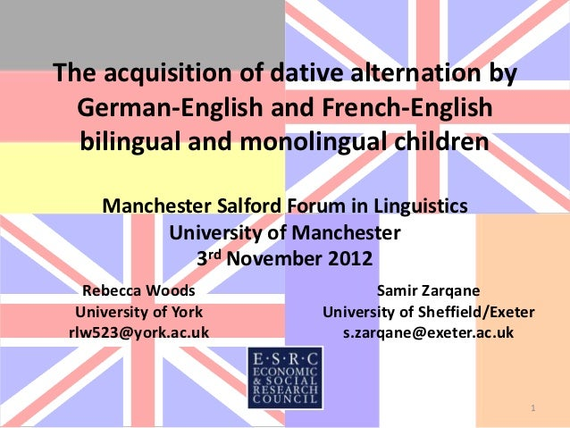 The acquisition of dative alternation by  German-English and French-English  bilingual and monolingual children     Manche...