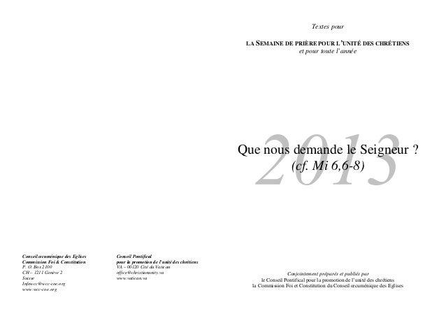 Textes pour                                                                               LA SEMAINE DE PRIÈRE POUR L'UNIT...