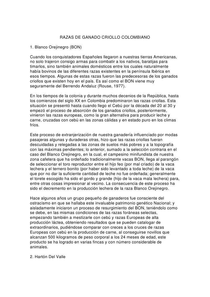 RAZAS DE GANADO CRIOLLO COLOMBIANO1. Blanco Orejinegro (BON)Cuando los conquistadores Españoles llegaron a nuestras tierra...