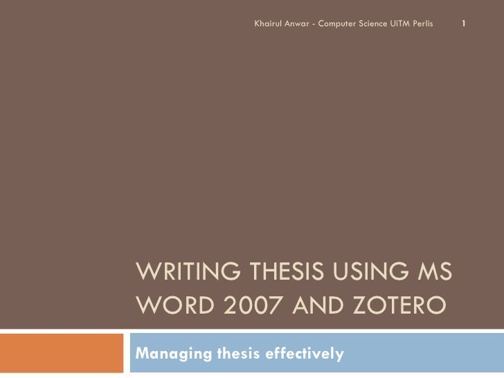 Using Word to Write your Thesis: Creating an Outline
