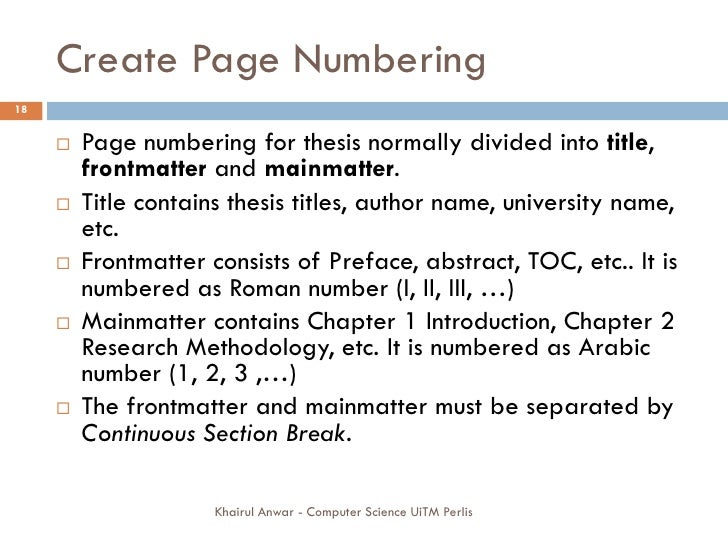 do page numbering dissertation