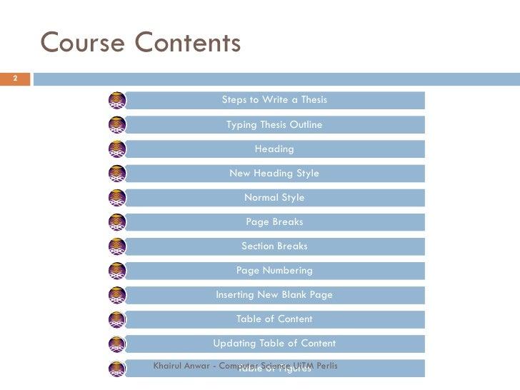 Dissertation Content Page