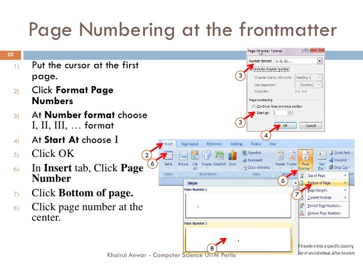 Dissertation page numbering using word