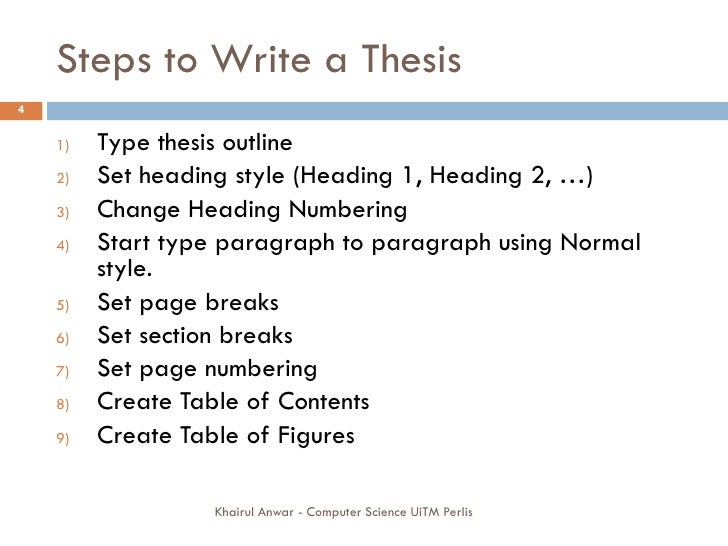 Steps in writing thesis
