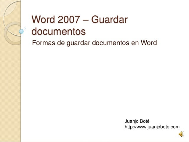 Como guardar documentos en Word