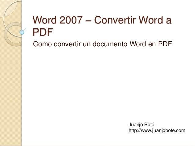 Convertir documento de Word en PDF