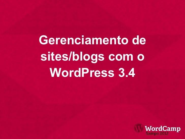 Gerenciamento de sites/blogs com o WordPress 3.4