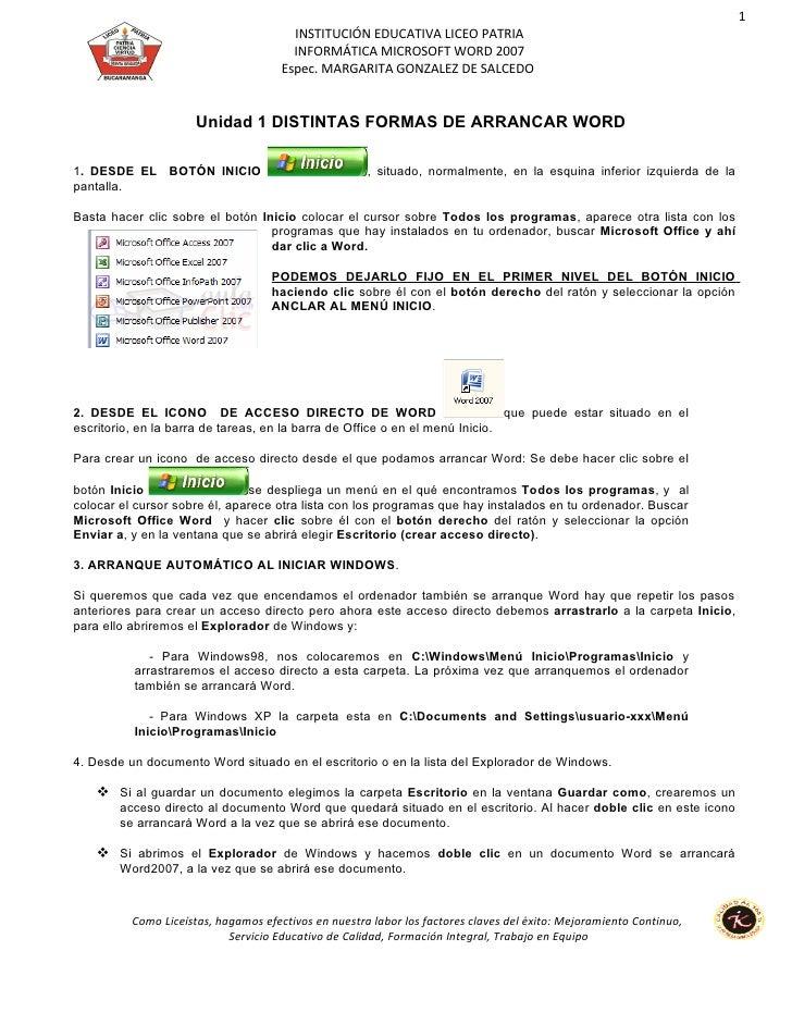 1                                        INSTITUCIÓN EDUCATIVA LICEO PATRIA                                        INFORMÁ...