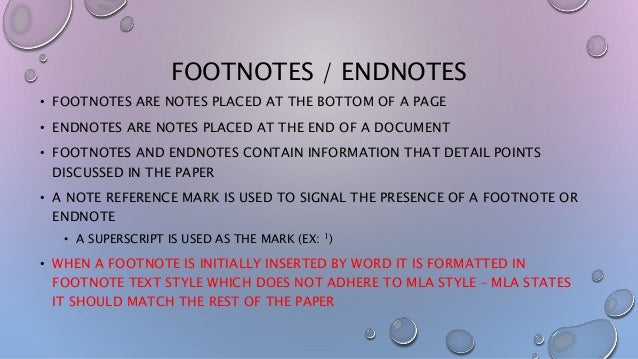 endnotes on a research paper Footnotes & endnotes: endnotes are provided at the end of a paper research/footnotehtm k shanton, 2016 inserting them into your paper.