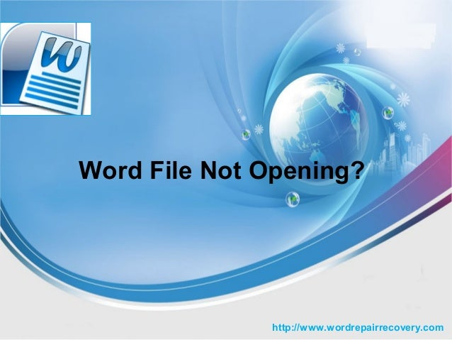 Word File Not Opening after Corruption
