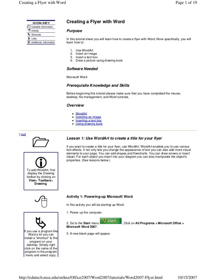 Creating a Flyer with Word                                                                                             Pag...