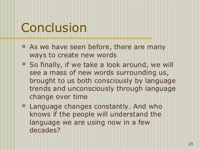 What words to use for a conclusion?