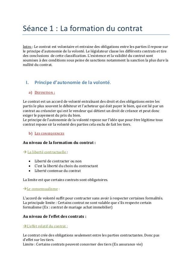 Séance 1 : La formation du contrat  Intro : Le contrat est volontaire et entraine des obligations entre les parties il rep...