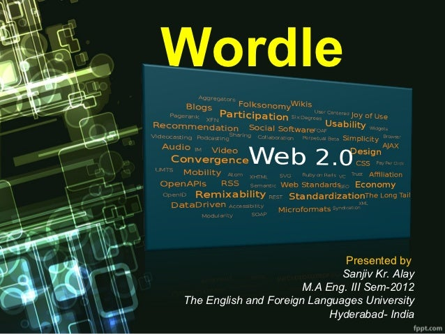 Wordle                               Presented by                              Sanjiv Kr. Alay                       M.A E...