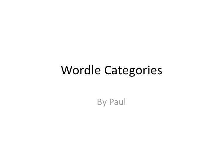 Wordle categories
