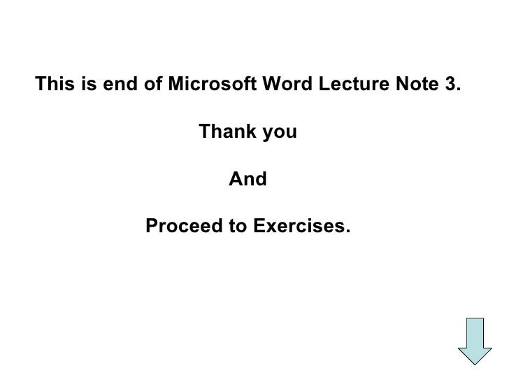 Word lecture 3