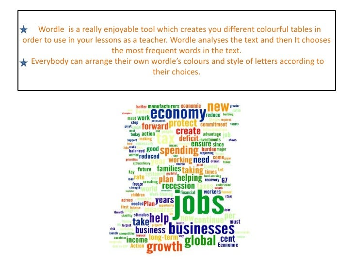 Wordle  is a really enjoyable tool which creates you different colourful tables in order to use in your lessons as a teach...
