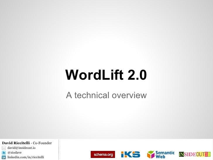 WordLift 2.0                                A technical overviewDavid Riccitelli - Co-Founder   david@insideout.io   @ziod...