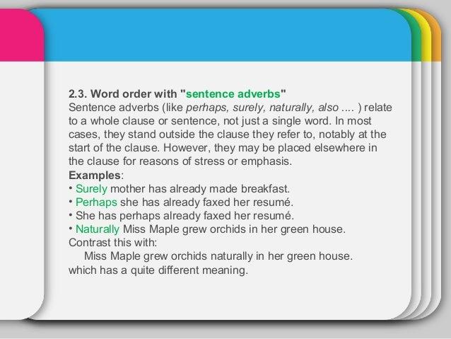 word order in declarative sentences in english
