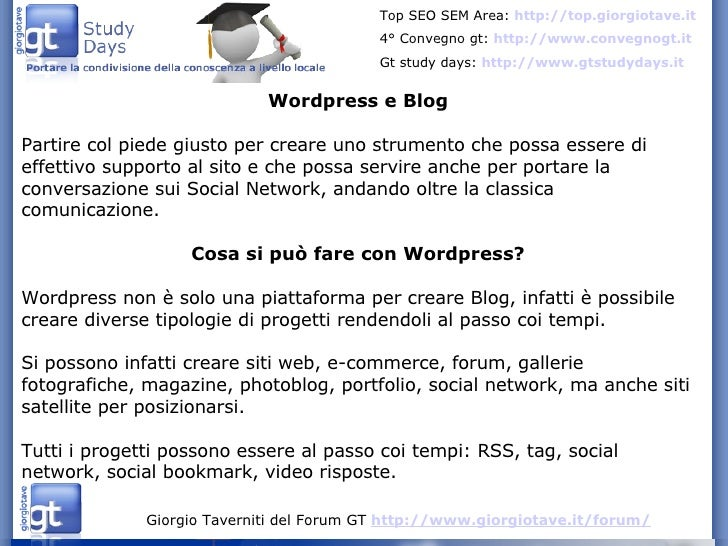 Wordpress, Blog, SEO e Conversazione
