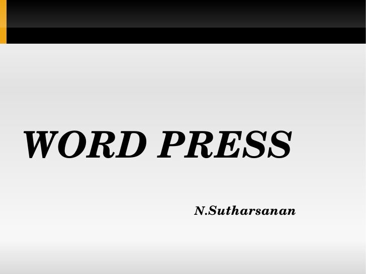 WORD PRESS N. Sutharsanan