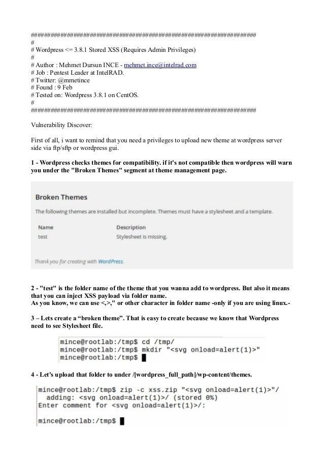 Wordpress 3-8-1-stored-xss