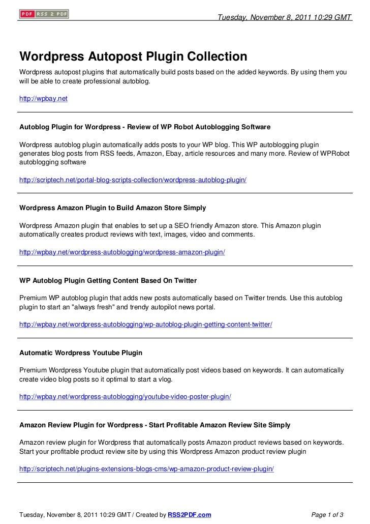 Wordpress Autopost Plugin Collection
