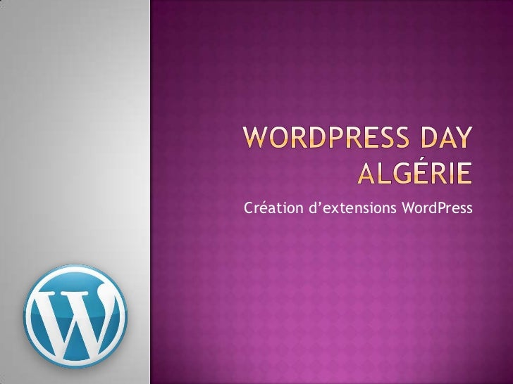 Wordpress DAY - création d'extensions