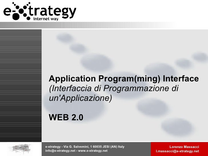Application Program(ming) Interface (Interfaccia di Programmazione di un'Applicazione) WEB 2.0