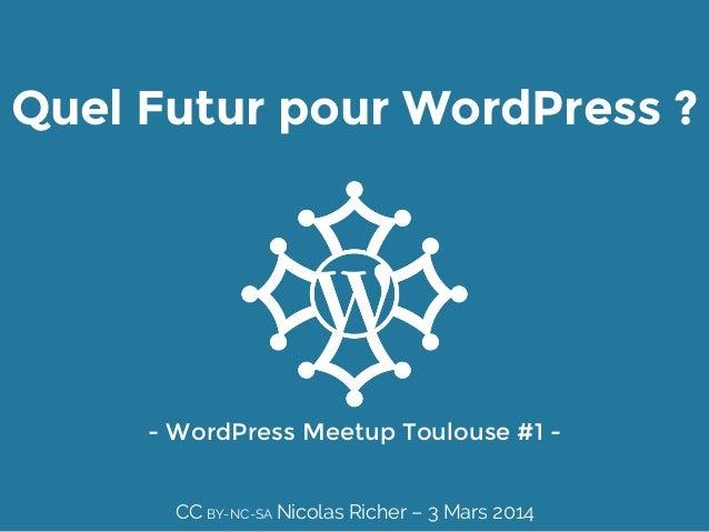 Quel Futur pour WordPress ?  - WordPress Meetup Toulouse #1 -  CC BY-NC-SA Nicolas Richer – 3 Mars 2014