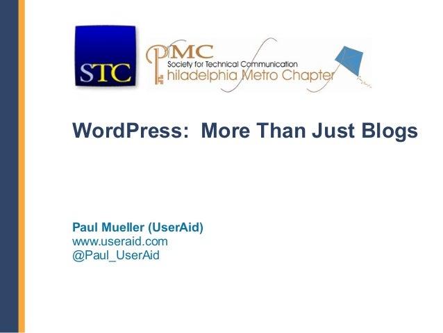 WordPress:  More Than Blogs