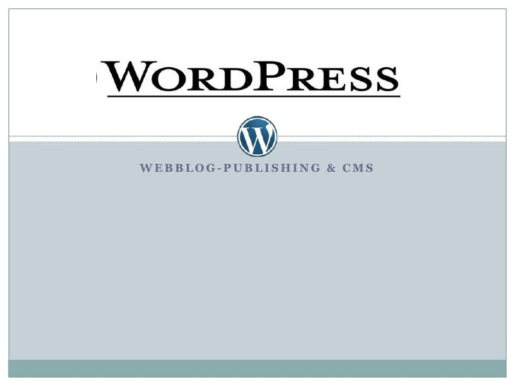 Webblog-Publishing & CMS<br />