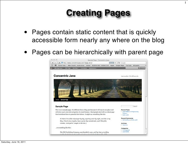 1                                     Creating Pages                     •    Pages contain static content that is quickly...