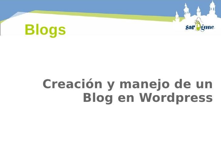Manejo y creación de un blog en Wordpress
