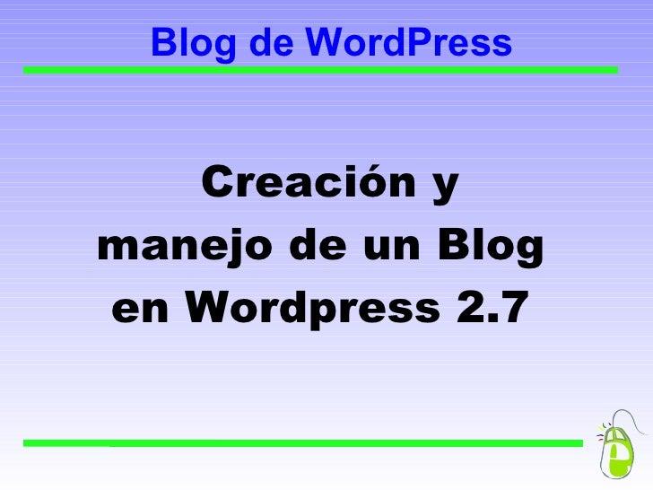 Creación de un Blog con Wordpress 2.7