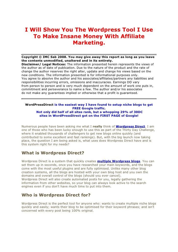 Wordpress affiliate marketing