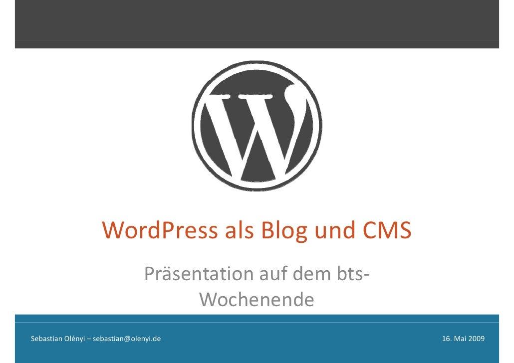 Word Press Als Blog Und Cms O