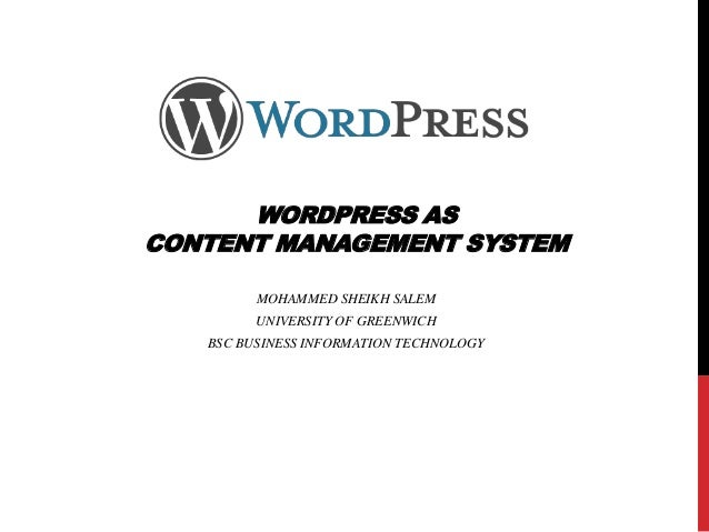 Word press as an example of wcms