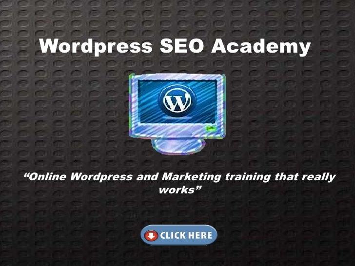 "Wordpress SEO Academy""Online Wordpress and Marketing training that really                     works"""