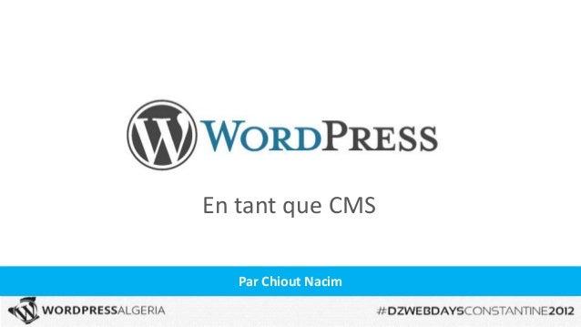 WordPress en tant que CMS