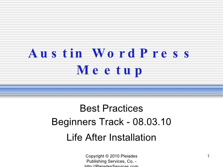 Word press meetup   getting started