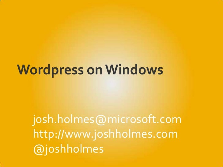Wordpress on Windows