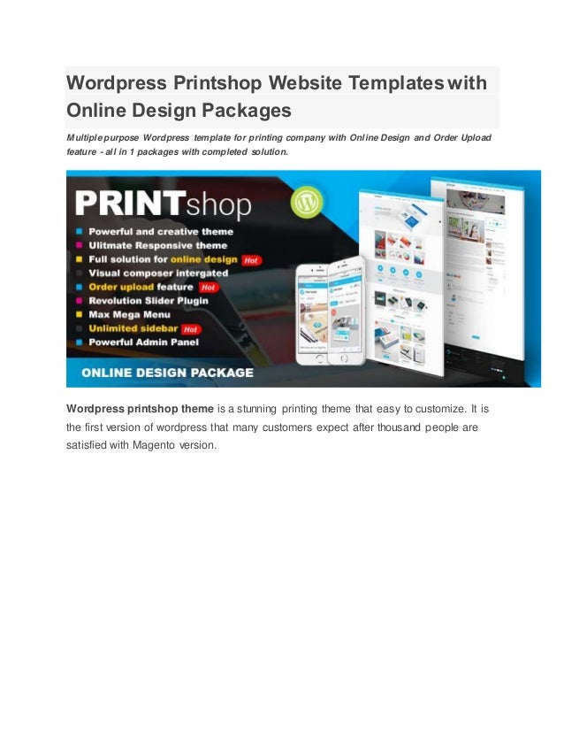 wordpress printshop website templates with online design packages. Black Bedroom Furniture Sets. Home Design Ideas