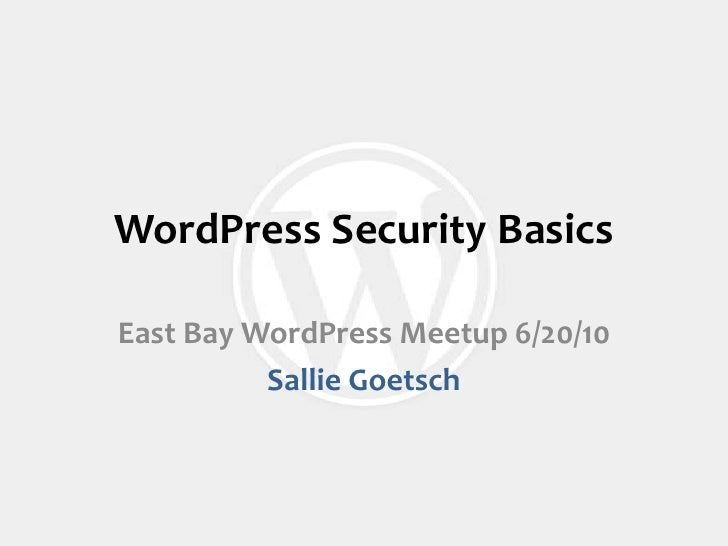 Word press security basics