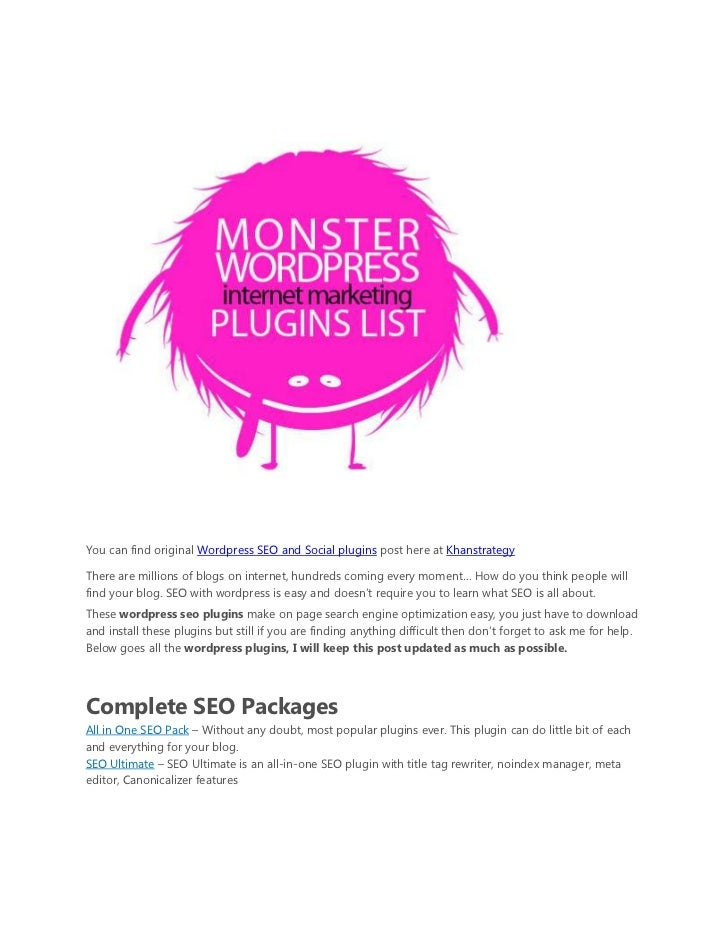 Wordpress seo and social media plugins